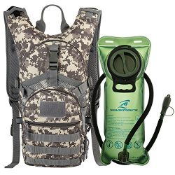 SHARKMOUTH Tactical MOLLE Hydration Pack Backpack 900D with 2L Leak-Proof Water Bladder, Keep Li ...