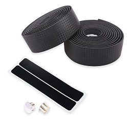 DRBIKE Handlebar Tape for Road Bike Fixed Gear, Bar Wrap with 2 Plug, Black