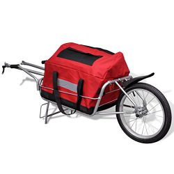 Festnight One-wheel Bicycle Cargo Trailer Steel Frame with Storage Bag