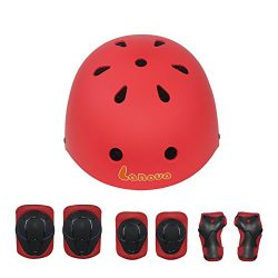 LANOVAGEAR Kids Child Adjustable Cycling Bicycle Protective Gear Set 7pcs Toddler Helmet Elbow K ...