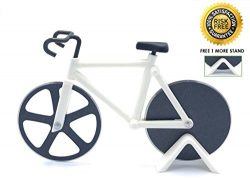 SKM Bicycle Pizza Cutter Slicer Dual Stainless Steel Non-Stick Cutting Bike Wheels with Dual Sta ...