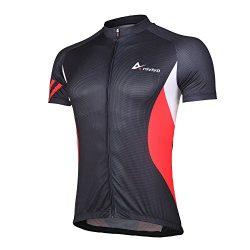 Mens Cycling Jerseys Short Sleeves Bike Shirts Full Zip Biking Clothing with Three Pockets(Jerse ...