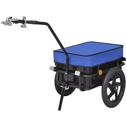 Festnight 15 Gal Bike Cargo Luggage Trailer Hand Wagon with Heavy-Duty Steel Frame , Black/Blue
