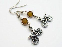 Bicycle Birthstone Earrings, Personalized Fixed Gear Bike Earrings, Athletic Earrings, Biker Jewelry