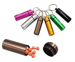 Yunko 6 Pcs Waterproof Aluminum Pill Bottle Organizer Box Case Drug Holder Keychain Container Tr ...