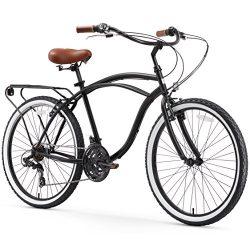 sixthreezero Around The Block Men's 21-Speed Cruiser Bicycle, Matte Black w/Brown Seat/Grips