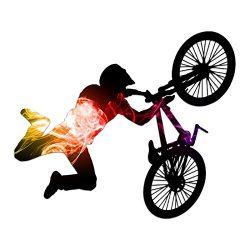 BMX Bike Rider Silhouette Color Vinyl Sports Car Laptop Sticker – 6″
