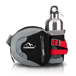 Sunhiker Waist Bag, Sports Water Resistant Waist Pack with Water Bottle (Not Included) Holder, R ...