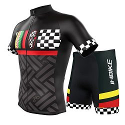 INBIKE Men's Summer Breathable Cycling Jersey and 3D Silicone Padded Shorts Set Outfit Bla ...
