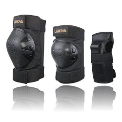 LANOVAGEAR Kids Men Women Adjustable Knee Elbow Pads Wrist Guards Safety Protective Gear Set Cyc ...
