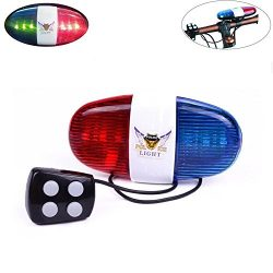 Kui Ji 6 LED Lights Electronic Cycling Bike Electric Horn Bicycle Police Siren Bell – 5 So ...