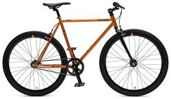 Retrospec Bicycles Mantra V2 Fixed Gear Bicycle with Sealed Bearing Hubs, Black/Copper, 53cm/Medium