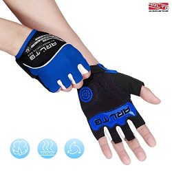 Arltb Cycling Gloves Bike Bicycle Gloves Padded Fingerless Biking Gloves Mittens with Easy to Pu ...