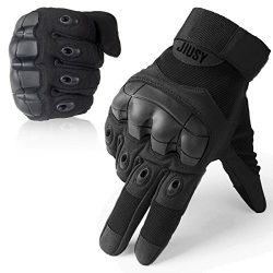 JIUSY Touch Screen Military Rubber Hard Knuckle Tactical Gloves Full Finger Airsoft Paintball Ou ...