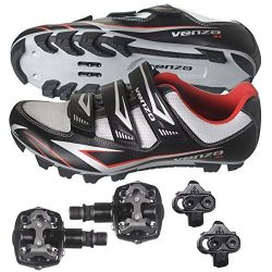 Venzo Mountain Bike Bicycle Cycling Shimano SPD Shoes + Pedals & Cleats 40