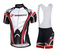 sponeed Mens Cycling Bibs Sets Bicycle Bib Shorts Padded Pro Clothing Asian L/US M Black-red