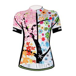Aogda Cycling Jersey Women Bike Shirts Biking Bib Pants Ladies Cycling Clothing (Jerseys 1, XXL)