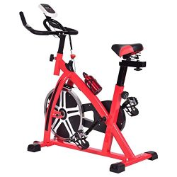 Goplus Exercise Bike Indoor Stationary Bicycle Cardio Fitness Cycle Trainer Heart Pulse w/LED Di ...