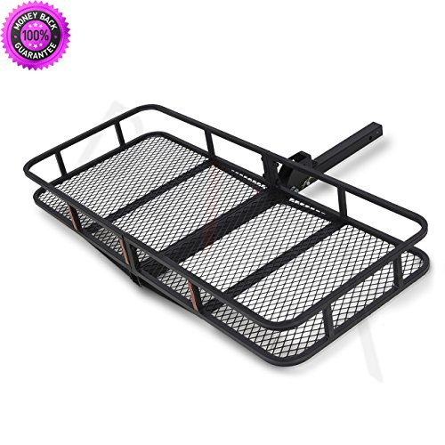 DzVeX 60″ x 25″ Folding Cargo Carrier Luggage Rack Hauler Truck Car Hitch 2″ R ...