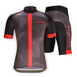Lixada Men's Cycling Jersey Set Bicycle Short Sleeve Set Quick-Dry Breathable Shirt+3D Cus ...