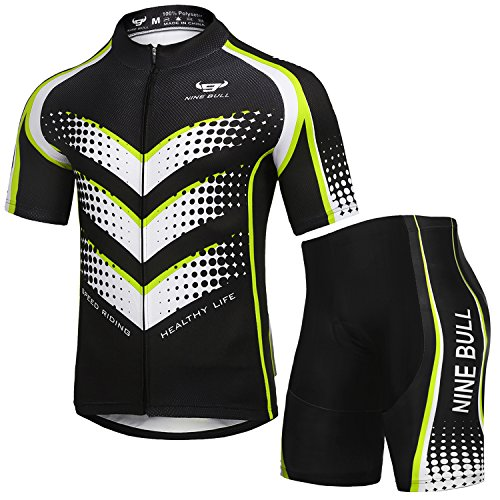 NINE BULL Men's Cycling Jersey Short Sleeve Quick-Dry Polyester Biking Clothing Set