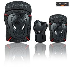 GIORO Youth/adult Knee Pads and Elbow Pads Set with Wrist Guard Safety Protective Gear Set for M ...