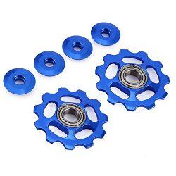 Stylrtop 2 pcs Bike 11T Aluminum Sealed Bearing Jockey Wheel Rear Derailleur Pulleys (Blue)