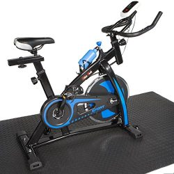 XtremepowerUS Indoor Cycle Trainer Fitness Bicycle Stationary w/ Treadmill mat