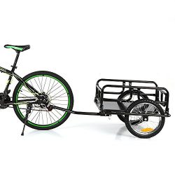 IKAYAA Folding Bike Cargo Trailer Hand Wagon Bicycle Luggage Trailer Storage Cart Carrier with D ...