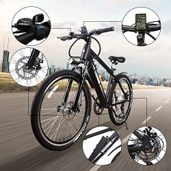 NAKTO 350W Electric Bicycle Mountain E-Bike SHIMANO 6 Speed Gear with Smart Multi Function LED A ...