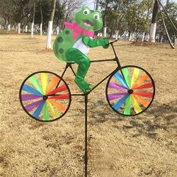 Ladaidra Wind Spinner, Animal on Bike 3D Colorful Wheel Stand Decor Windmill for Farm Yard Lawn  ...