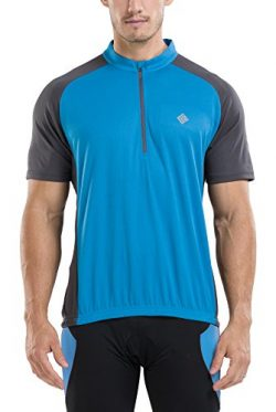 KORAMAN Men's Reflective Short Sleeve Cycling Jersey Quick-dry Breathable Biking Shirt Blu ...