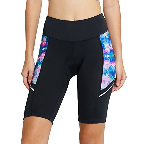 Baleaf Women's Cycling Padded Shorts UPF 50+ Color Geometry L