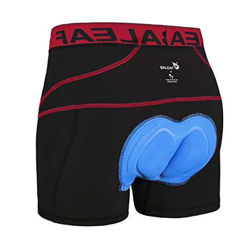 Baleaf Men's 3D Padded Bike Bicycle MTB Cycling Underwear Shorts (Red, XXL)