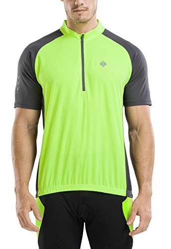KORAMAN Men's Reflective Short Sleeve Cycling Jersey Quick-dry Breathable Biking Shirt Gre ...