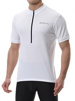 Spotti Men's Basic Short Sleeve Cycling Jersey – Bike Biking Shirt (White, XX-Large)