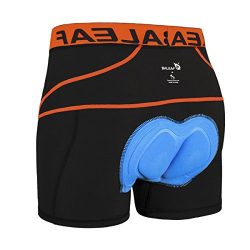 Baleaf Men's 3D Padded Bike Bicycle MTB Cycling Underwear Shorts (Orange, S)