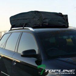 Topline Autopart Universal Black Waterproof Roof Top Cargo Carrier Bag Travel Luggage Storage Ta