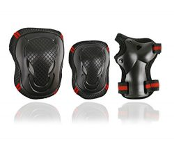 Knee Pads and Elbow Pads with Wrist Guards Protective Gear S,M,L Size 6pcs Set for Multi Sports  ...