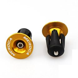 FOMTOR Bar End Plugs 2 Pack Aluminum MTB Road Bike Handlebar End Plugs Bar End Caps (Gold)