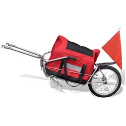 vidaXL Single Wheel Cargo Trailer Bicycle Bike Luggage Cart Steel Carrier w/Storage Bag