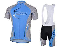 MYNEKO Mens Short Sleeve Cycling Jersey 3D Padded Bib Short Set,Blue,X-Large