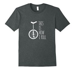 Mens How I Roll Unicycle T-Shirt Large Dark Heather