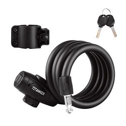 Titanker Bike Lock, Bike Locks Cable 4 feet Coiled Secure Resettable Combination or Keys Bike Ca ...