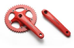 Retrospec Bicycles Fixed-Gear Crank Single-Speed Road Bicycle Forged Crankset, Red, 44T