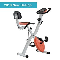 Harvil Foldable Magnetic Exercise Bike with 10-Level Adjustable Magnetic Resistance and Pulse Ra ...
