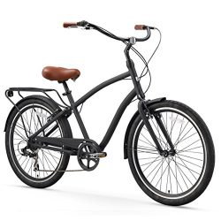 sixthreezero EVRYjourney Men's 7-Speed Hybrid Cruiser Bicycle, Matte Black w/Brown Seat/Grips