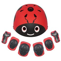 LANOVAGEAR Kids Protective Gear Set Adjustable Helmets Knee Elbow Pads Wrist Guards for Sports B ...
