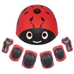 LANOVAGEAR Kids Protective Gear Set Adjustable Helmets Knee Elbow Pads Wrist Guards for Sports B ...