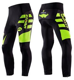 sponeed Men's Cycle Shorts Tights Long Pants Athletic Cycling Outdoor Sports Asia L/US M Green